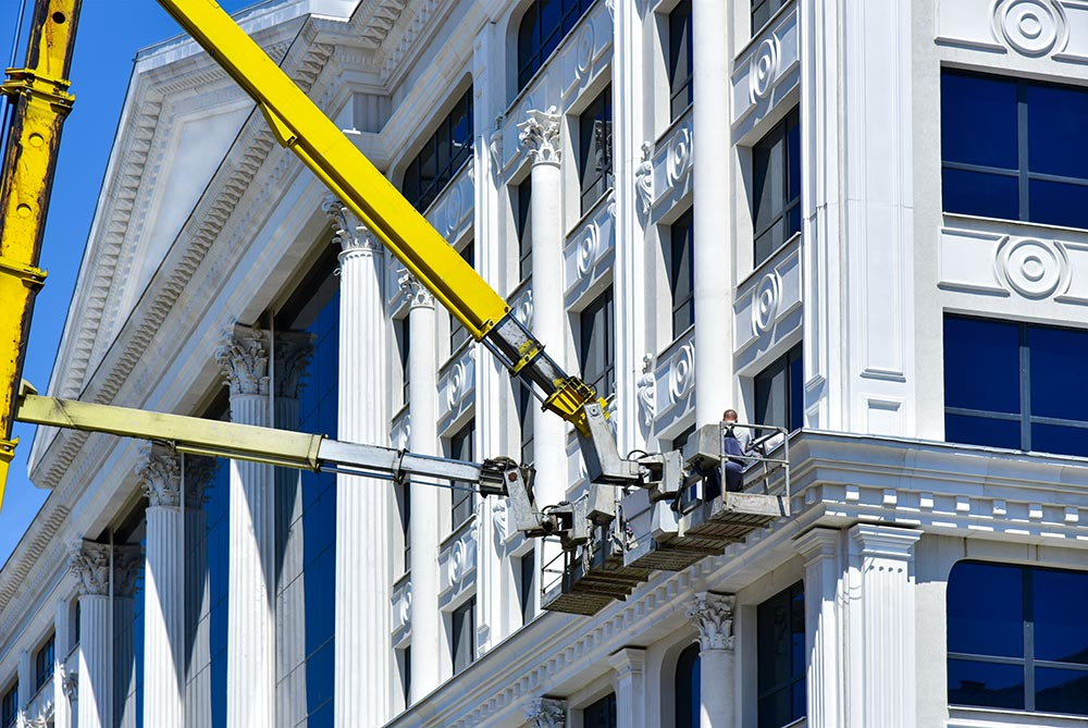 High Rise Window cleaning services with crane